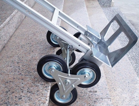 Easily wheel your luggage up the stairs.