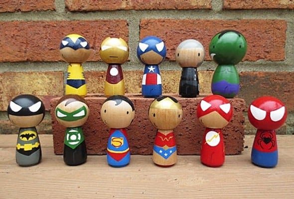 Wooly Llama Kokeshi Style Superheroes Buy Wooden Action Figures