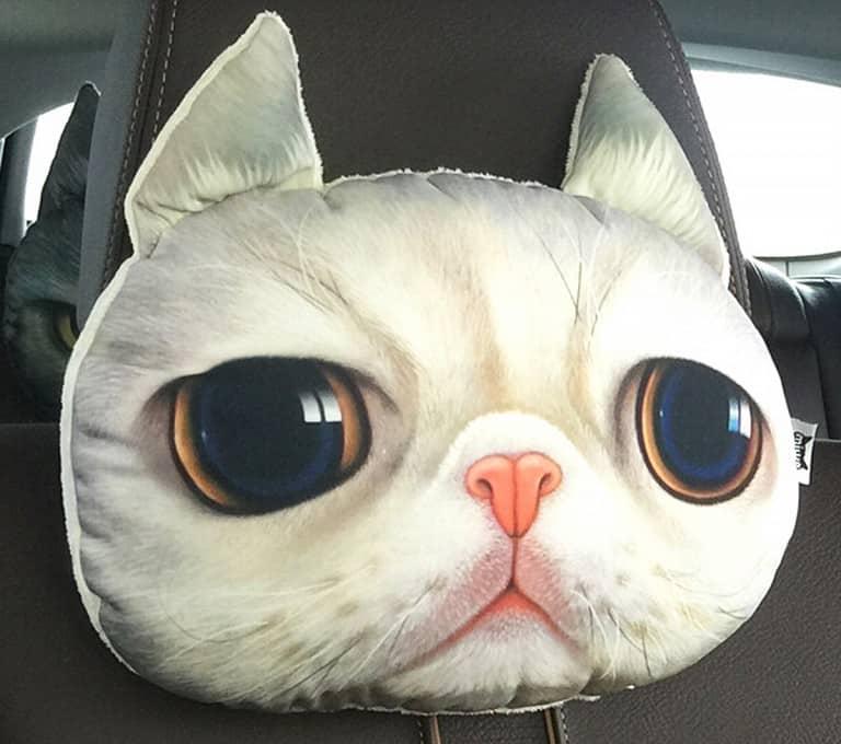 3D Cat Headrest Pillow Kitty Design Driving Pillow