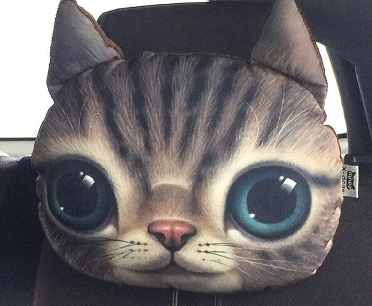 3D Cat Headrest Pillow Unique Vehicle Relax Tool