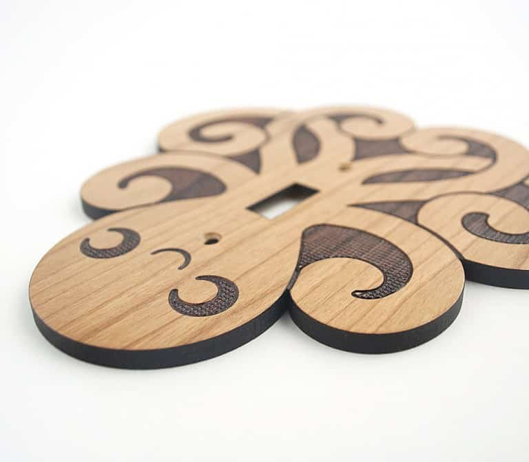 Graphic Spaces Wooden Octopus Switchplate Cute Multipurpose Home Decoration