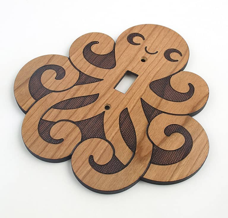Graphic Spaces Wooden Octopus Switchplate Fun Things To Hang In A Wall