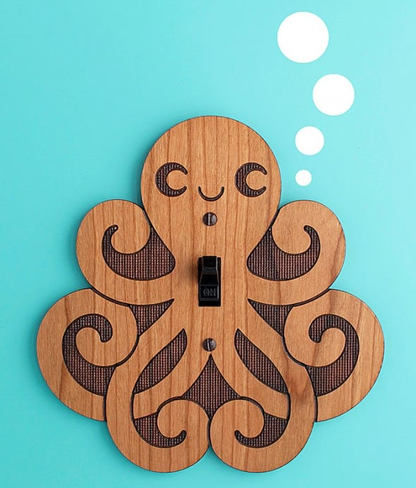 Graphic Spaces Wooden Octopus Switchplate House Warming Gift Idea
