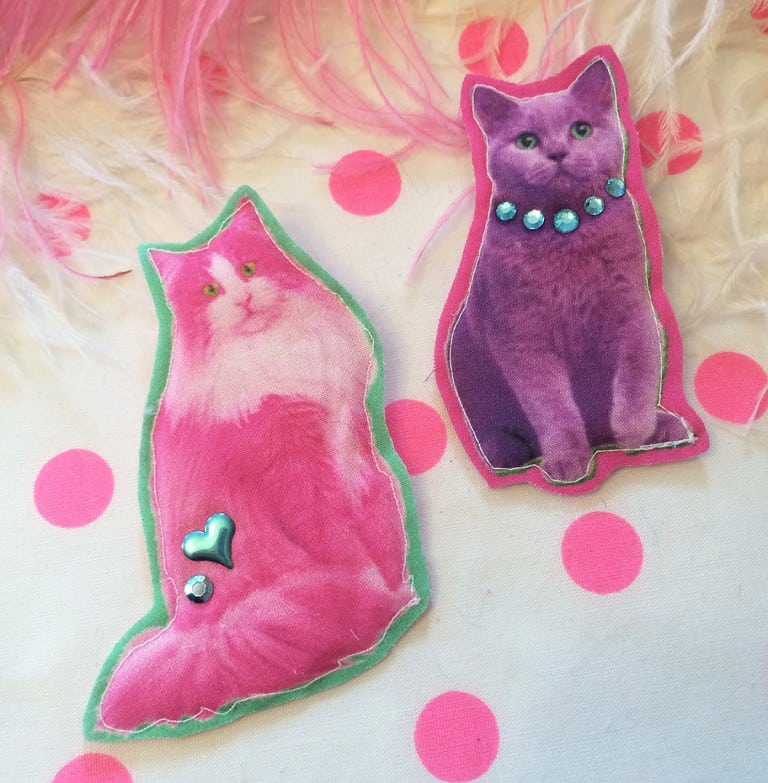 I'm Your Present Neon Cats Badge Set Cool Animal Fashion Stuff