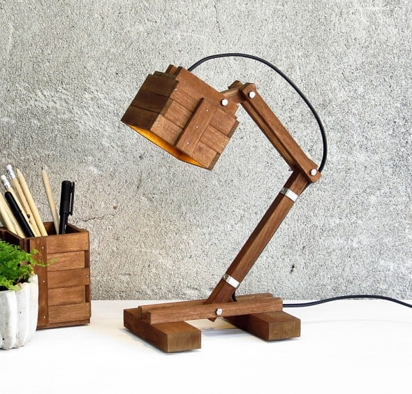 Brighten up your mood with a creative wooden lamp.