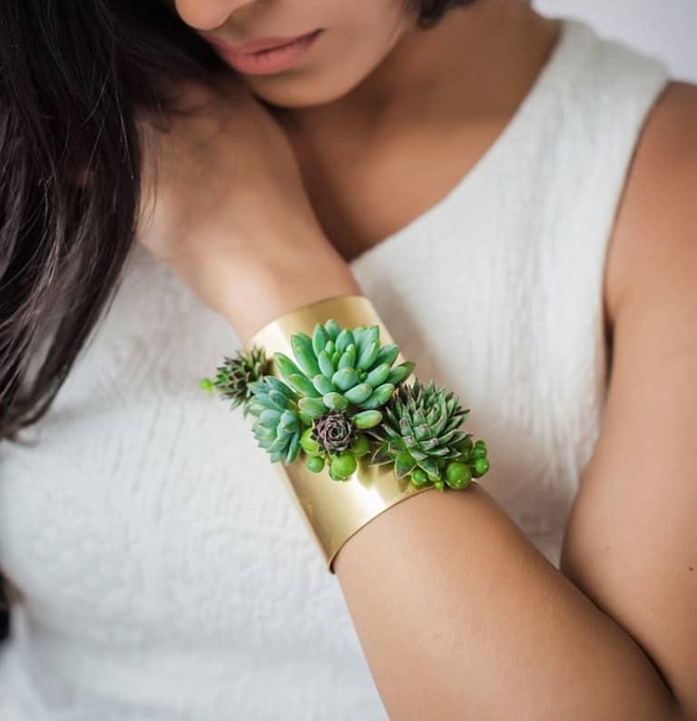 Passionflower Succulent Cuff Bracelet Cool Gold Bracelet