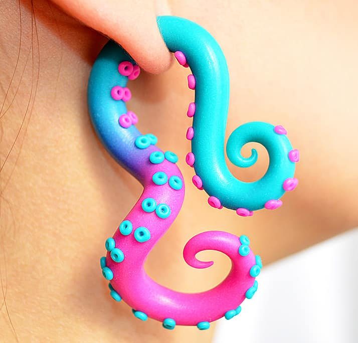 Take a look at these kraken' earrings.