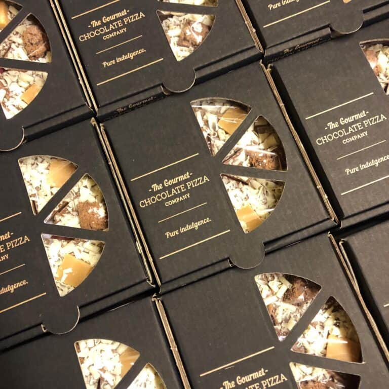 The Gourmet Chocolate Pizza Company Packing Box