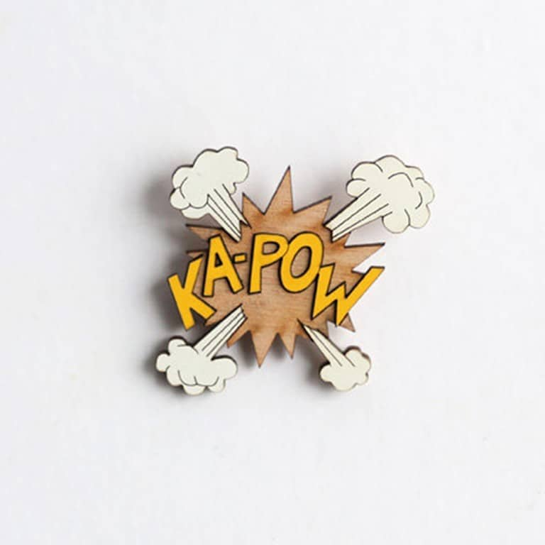 The Make Lab Ka-Pow Wooden Pin Cool Handmade Accessory for Garment