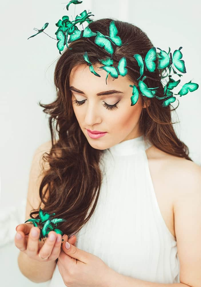 Eten Iren Turquoise Wedding Butterflies Crown Hair Accessory