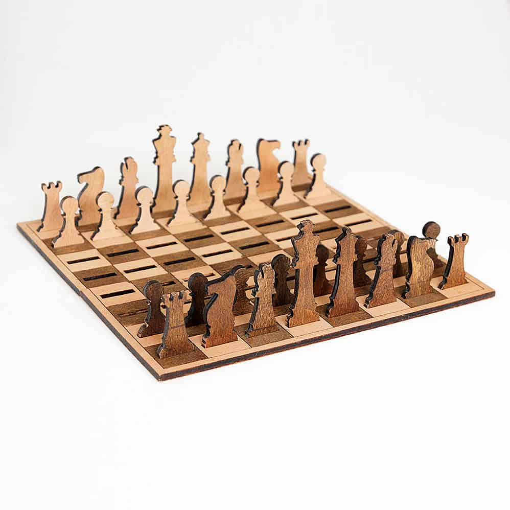 Ilem Leather Goods Flat Wooden Minimalist Chess Set Cool Board Game