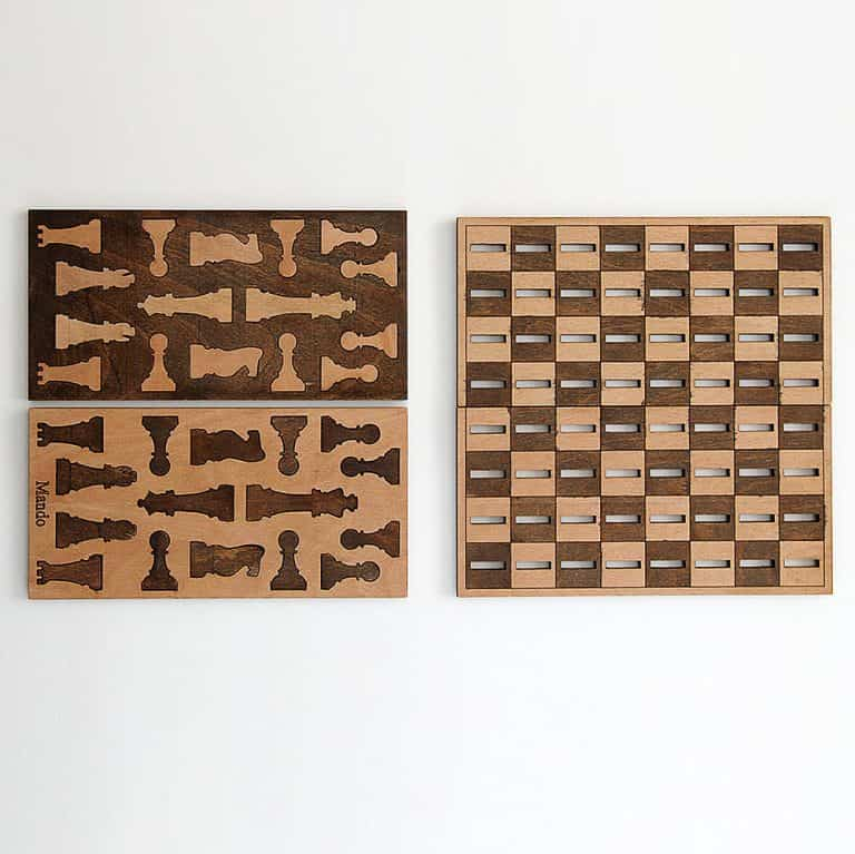 Ilem Leather Goods Flat Wooden Minimalist Chess Set Good for Indoor