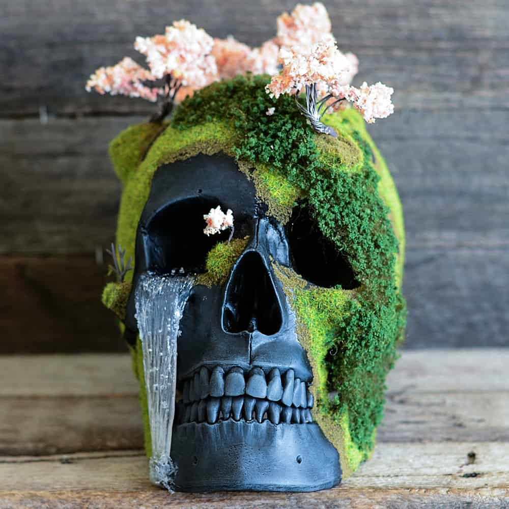 Get your very own little skull mountain with cherry blossom bonsai on top.