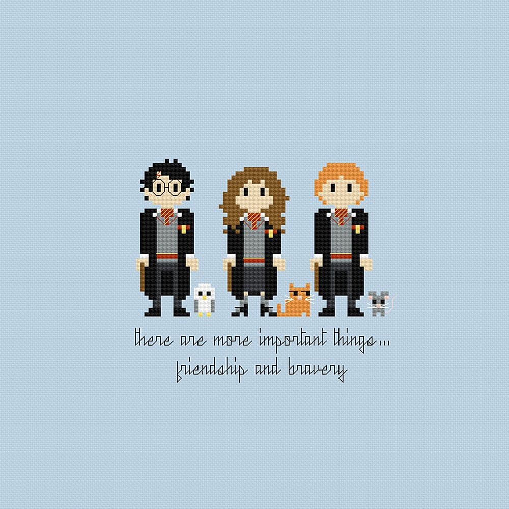 Pixels in Stitches Harry Potter Trio Cross Stitch Pattern Cool Decoration