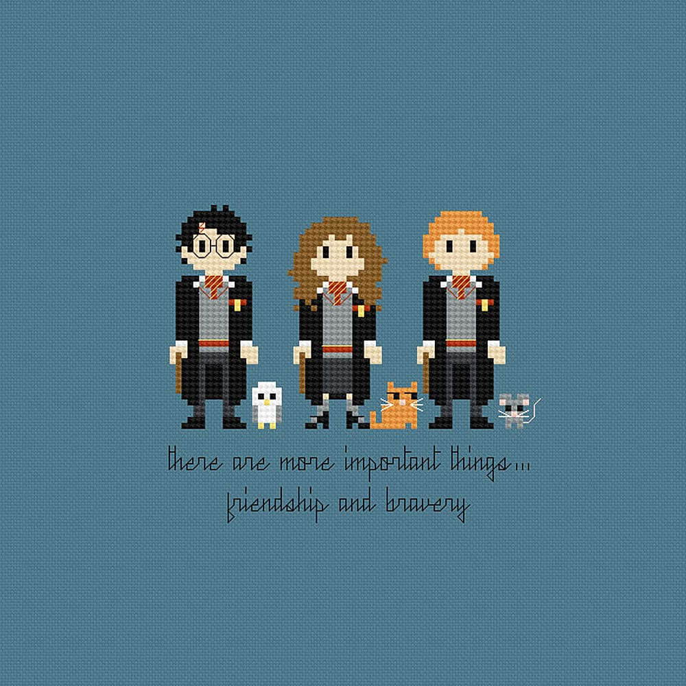 Pixels in Stitches Harry Potter Trio Cross Stitch Pattern Nice for Wall Art