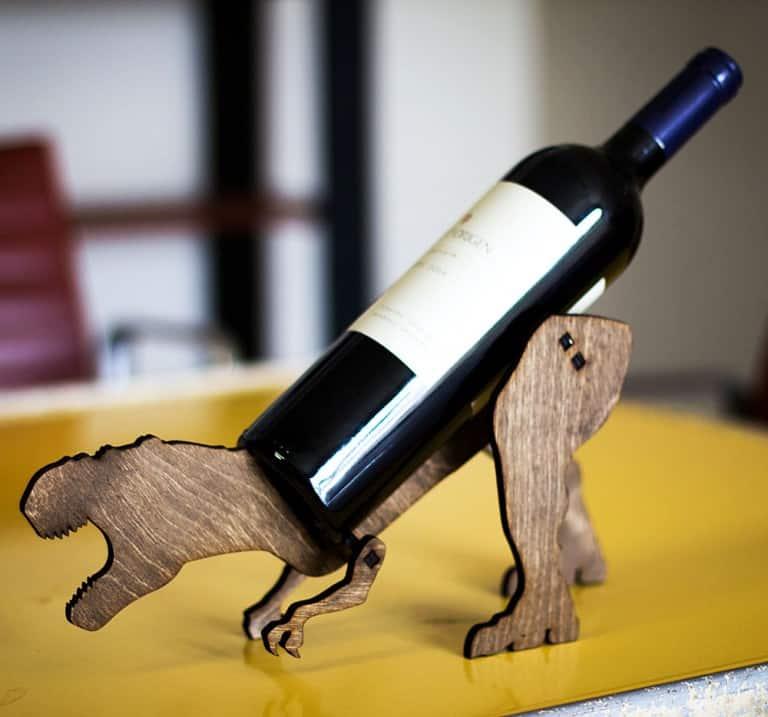 The Back Pack Shoppe Tyrannosaurus Rex Wooden Wine Rack Novelty Item