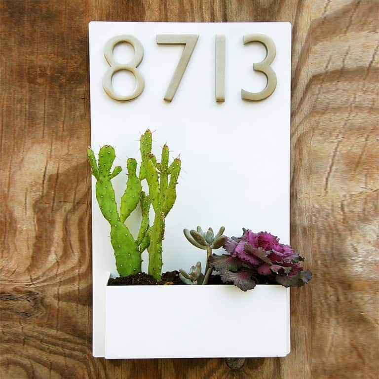 Urban Mettle Modern Wall Planter & Address Plaque Gift Idea for Home Decoration