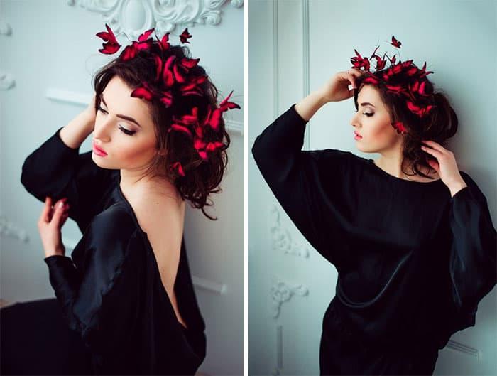 Eten Iren Crimson Red Wedding Butterflies Crown