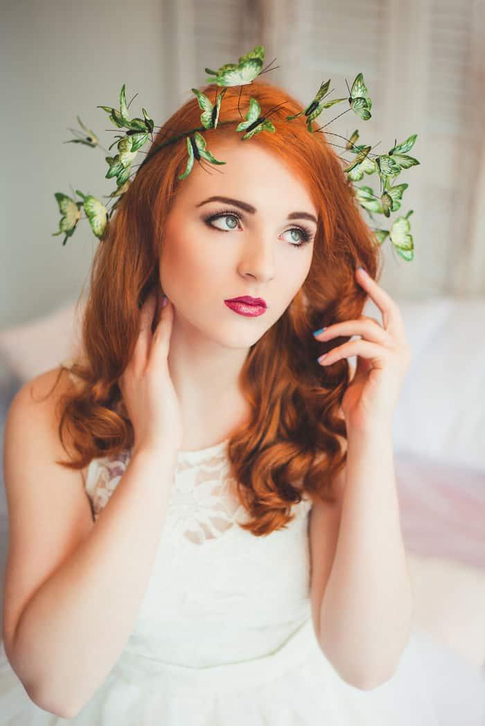 Eten Iren Green Wedding Butterflies Crown On Red Hair