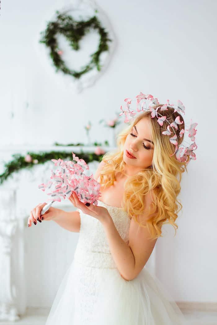 Eten Iren Pink Wedding Butterflies Crown And Bouquet