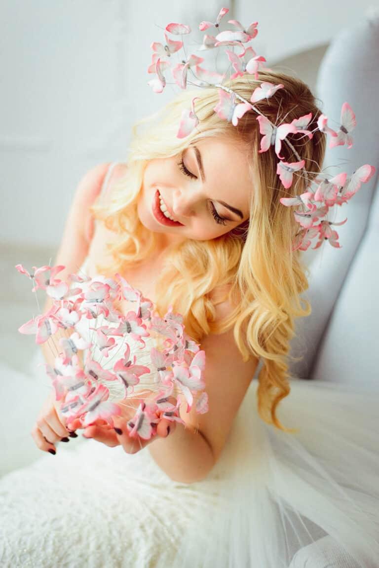 Eten Iren Pink Wedding Butterflies Head Crown