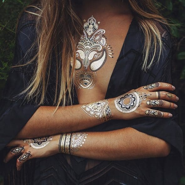Iamu Collective Premium Metallic Henna Tattoos Gift Idea