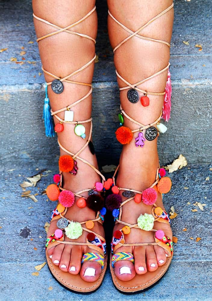 Mabu Gladiator Pom Pom Sandals Cool Footware