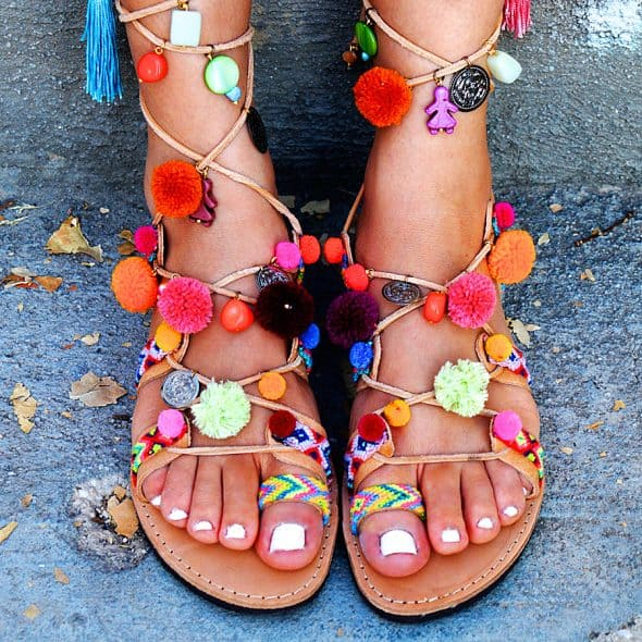 Mabu Gladiator Pom Pom Sandals Gift Idea for Her