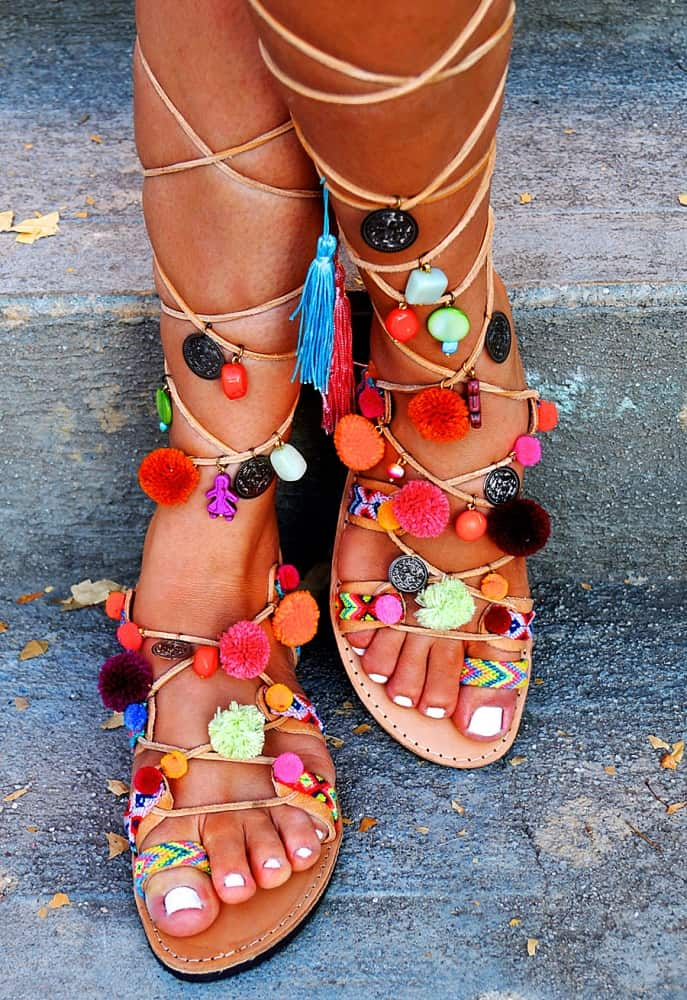 Mabu Gladiator Pom Pom Sandals Good for Fashion