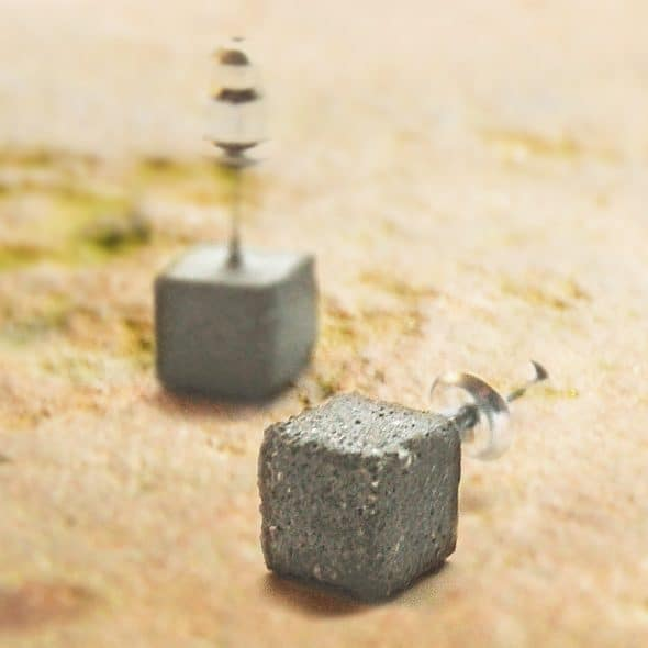 Maple & Mauve Square Concrete Earring Studs Gift Idea for Her