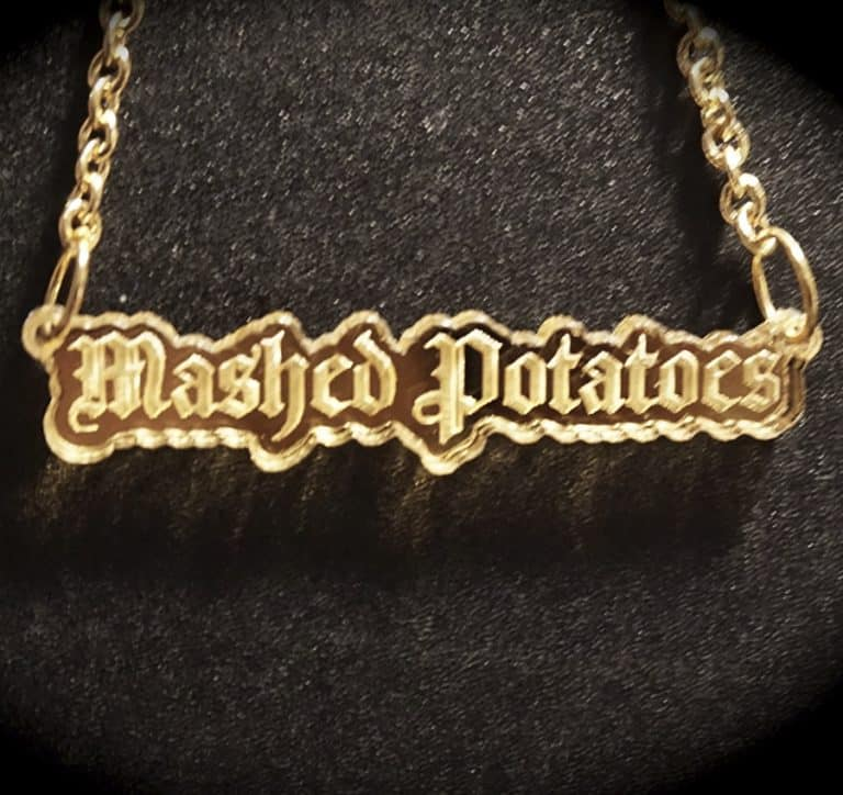 Supah Gothic Mashed Potatoes Mirror Acrylic Necklace Nice Novelty Item