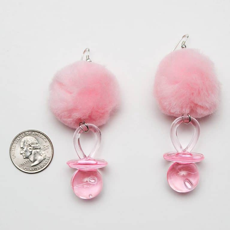 Tornasol Pacifier Pom Pom Earrings Awesome Novelty