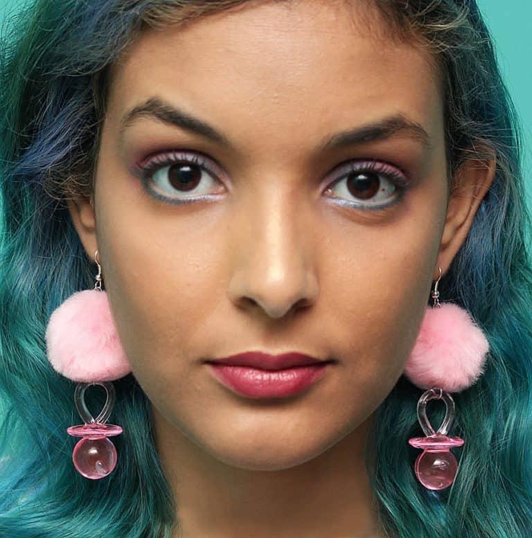 Tornasol Pacifier Pom Pom Earrings Cool Fashion Item
