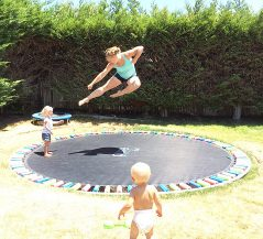 A ground level trampoline is a safer and cooler trampoline.