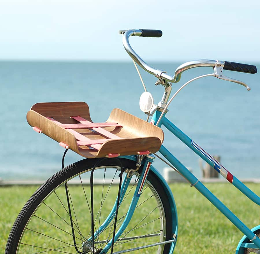Bent Basket Cargo Rack Tough Wooden Bike Rack