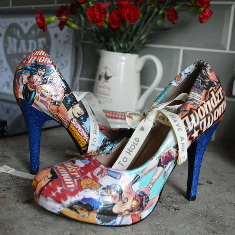Comic Book Shoe Zone Custom Wonder Woman Heels Gift for Girlfriend
