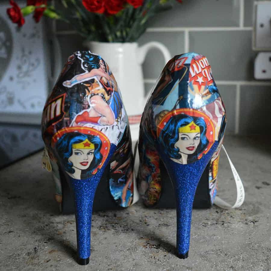 Comic Book Shoe Zone Custom Wonder Woman Heels Nice Footwear