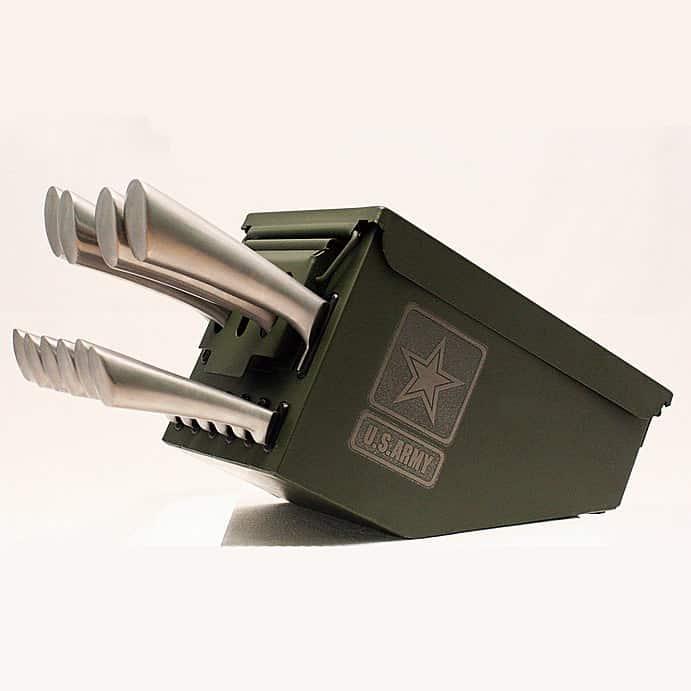 Delta Echo Products 10 pc Ammo Box Knife Block Cutlery Set Knives Holder