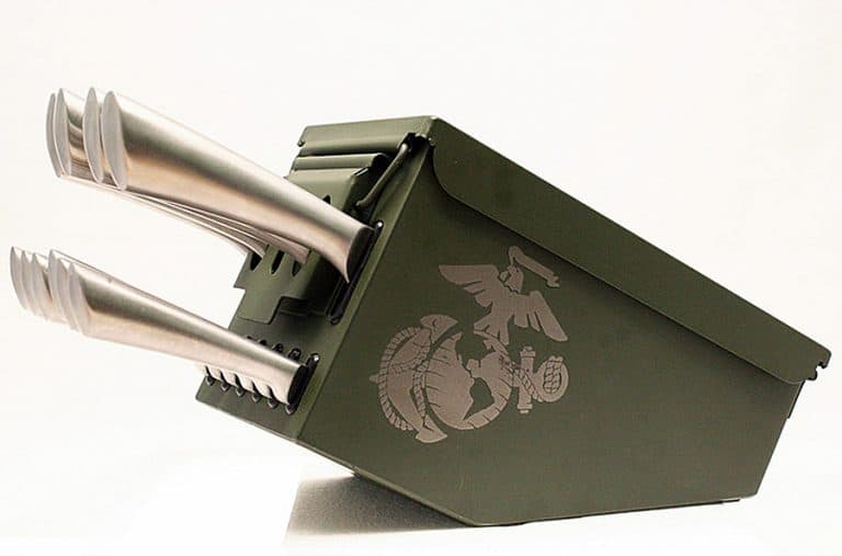 Delta Echo Products 10 pc Ammo Box Knife Block Cutlery Set Novelty Item
