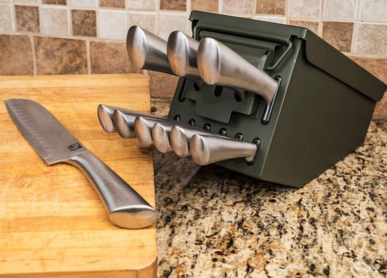 Delta Echo Products 10 pc Ammo Box Knife Block Cutlery Set Shop Online