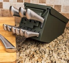 Military discipline starts with a knife block set.