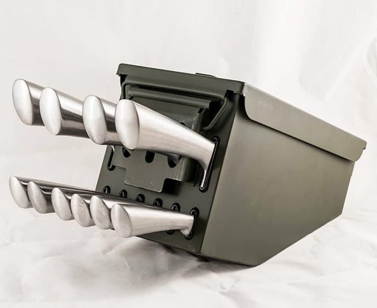 Delta Echo Products 10 pc Ammo Box Knife Block Cutlery Set Stainless Steel Steak Knife