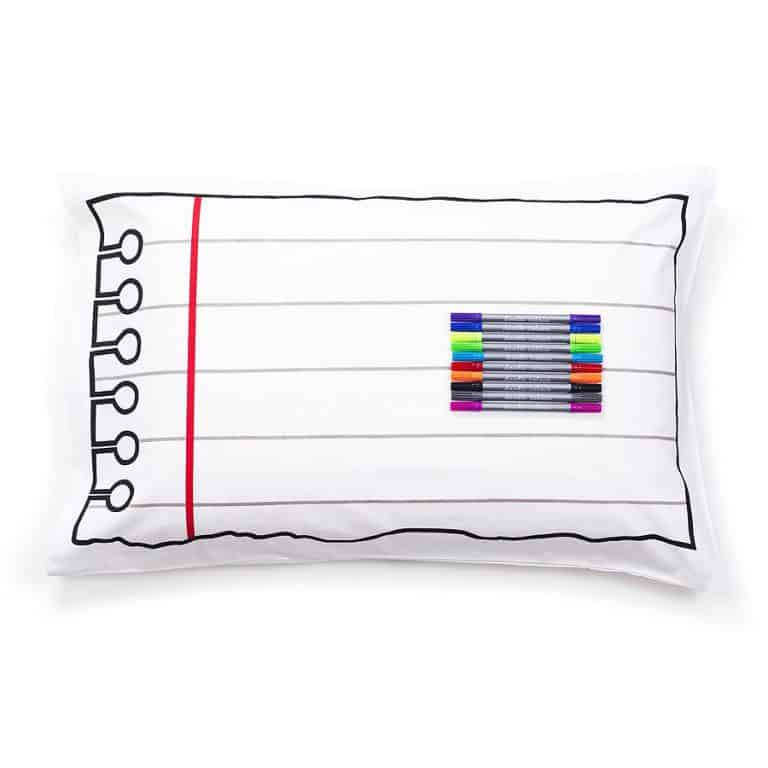Eat Sleep Doodle Doodle Cotton Pillowcase With Wash-Out Fabric Markers Awesome Bedroom Material