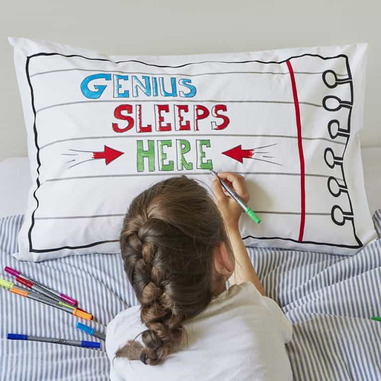 Eat Sleep Doodle Doodle Cotton Pillowcase With Wash-Out Fabric Markers Nice Present for your Kids