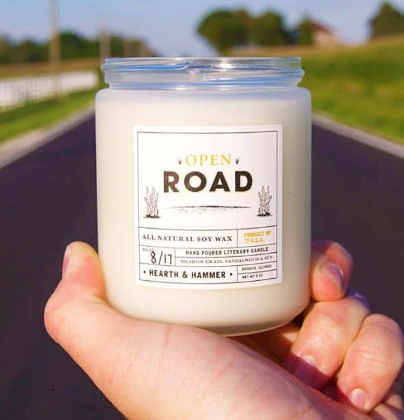 Hearth and Hammer Open Road Literary Candle Unique Gift Idea