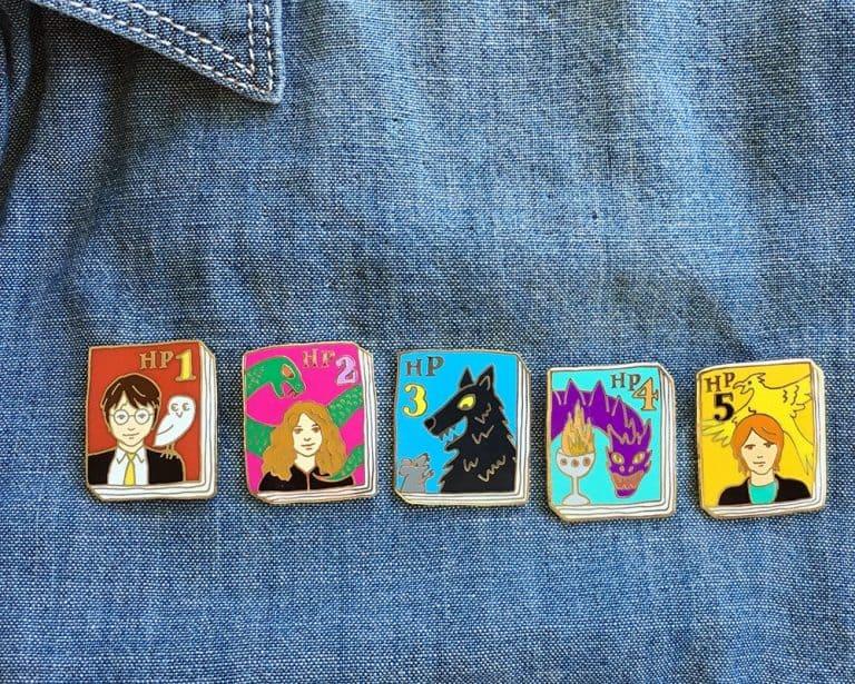 Ideal Bookshelf Harry Potter Book Badge Pin Set Book Geek Gift Idea