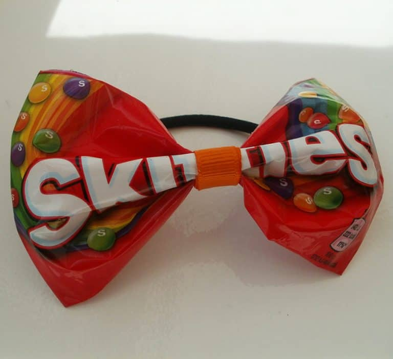 Little Town Belle Upcycled Red Skittles Hair Bow Awesome Novelty ITem