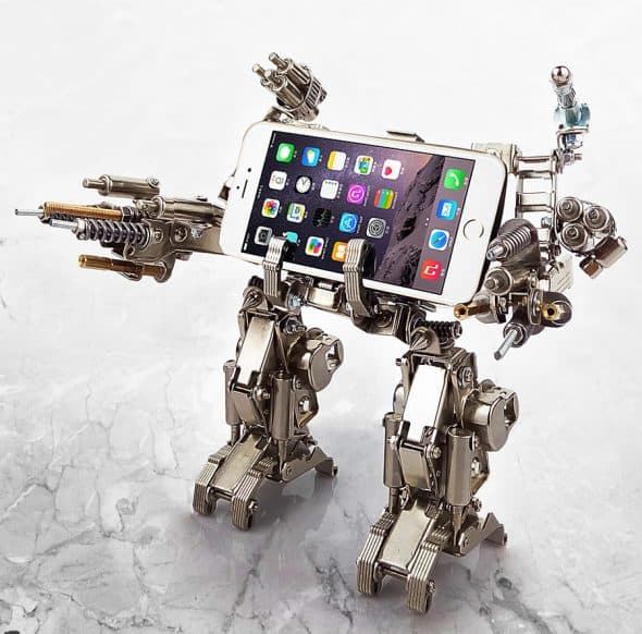 Mech World Metal Robot Cellphone Holder Gift Idea