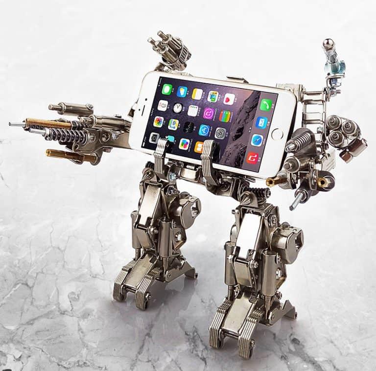 Mech World Metal Robot Cellphone Holder Gift Idea