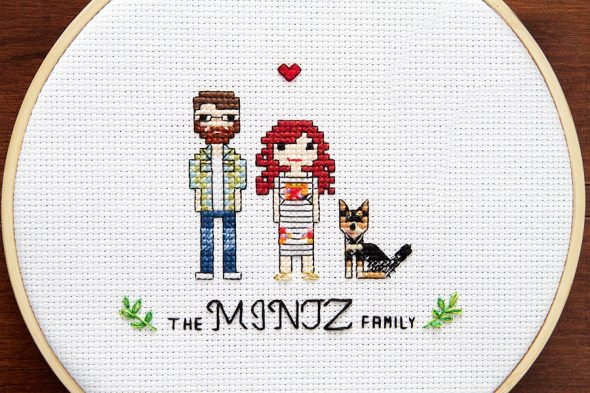 Northern Bumble Custom Cross Stitch Couple Portrait Gift Idea for Anniversaries